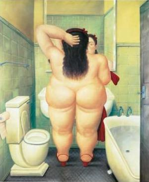 The Bathroom, 1989 - A painting by Frenando Botero